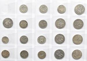 Wielka Brytania, lot srebrnych monet, 3, 6 pensów, szyling