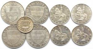 Austria, lot dziewięciu srebrnych monet, 1925-1969, Wiedeń