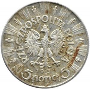 Polska, II RP, Józef Piłsudski, 5 złotych 1938, Warszawa