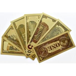 USA - banknoty pozłacane, wszystkie nominały od 1-100 dolarów