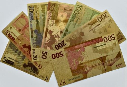 Unia Europejska - banknoty pozłacane, wszystkie nominały od 5-500 euro, UNC