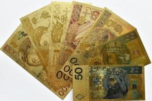 Polska - banknoty pozłacane, nominały od 50-500 złotych