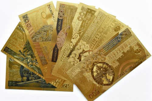 Polska - banknoty pozłacane, nominały od 50-500 złotych, UNC