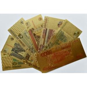 Rosja - banknoty pozłacane, nominały od 5-5000 rubli, UNC