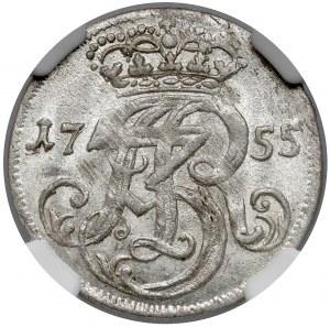 August III Sas, Trojak Gdańsk 1755 - MENNICZY