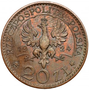 Próba BRĄZ 20 złotych 1924 Monogram
