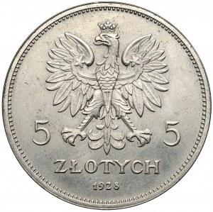 Próba 5 złotych 1928 Nike - ESSAI - nikiel i rant gładki - b.rzadka