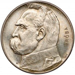 PRÓBA 10 złotych 1934 Strzelecki, Piłsudski - LUSTRZANY - piękny