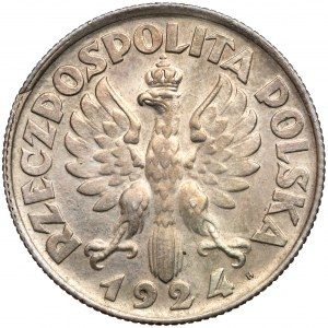 Kobieta i kłosy 2 złote 1924 - literka H - z PUNCĄ