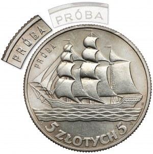 Próba 5 złotych 1936 Żaglowiec - wąski PRÓBA - nakład nieznany!