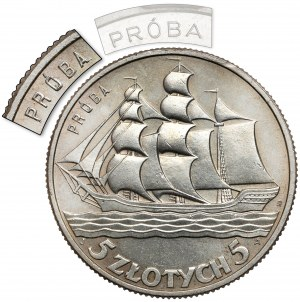 Próba 5 złotych 1936 Żaglowiec - większy PRÓBA - nakład nieznany!