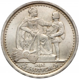 Konstytucja 5 złotych 1925 - 81 perełek - RZADKA