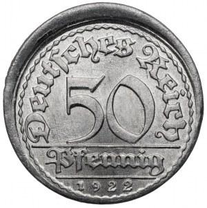 50 pfennig 1922-E - offcenter