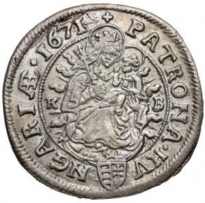 Hungary, Leopold I, 6 kreuzer 1671 KB