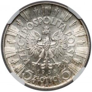Piłsudski 5 złotych 1938 - piękny