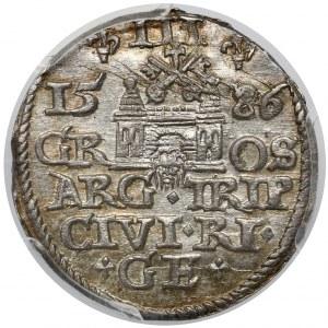 Stefan Batory, Trojak Ryga 1586 - krzyżyki - menniczy