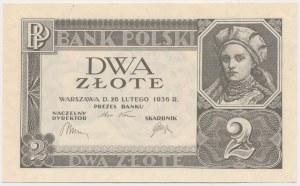 2 złote 1936 - bez poddruku, serii i numeracji