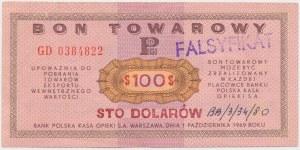 PEWEX, Przeróbka z 1$ na 100$ 1969 GD - fałszerstwo z epoki
