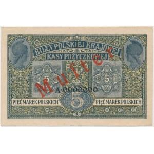 5 mkp 1916 Generał - MUSTER - A 0000000 - dwuczęściowy klejony