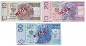 10, 20 i 50 złotych 1994 - WZÓR - AA 0000000 - Nr 1824 - zestaw (3szt)