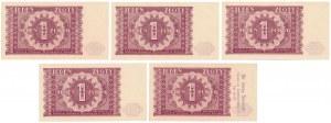 1 złoty 1946 - zestaw (5szt)