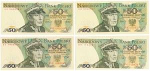 50 złotych 1975-88 - zestaw (4szt)