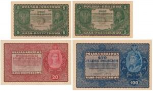 Zestaw 2x 5, 20 i 100 mkp 08.1919 (4szt)