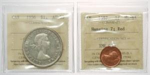 Canada, Elizabeth II, Dollar 1956 and Cent 1957, lot (2pcs)