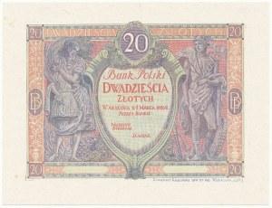 DRUK PRÓBNY awersu 20 złotych 1926