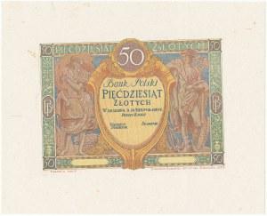 DRUK PRÓBNY awersu 50 złotych 1925