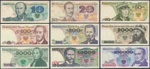 PRL, zestaw od 10 do 100.000 zł 1979-93 (9szt)
