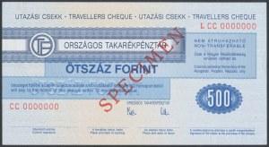 Węgry, Czek podróżniczy SPECIMEN 500 Forint