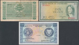 Cyprus, Luxembourg and Finland - lot of 3 banknotes