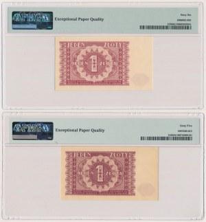 1 złoty 1946 - odmiany kolorytyczne (2szt)