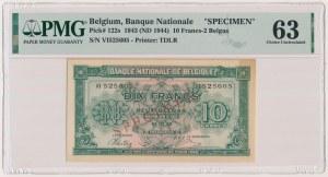 Belgia, 10 Francs-2 Belgas 1943 (1944) - SPECIMEN