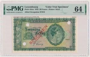 Luksemburg, 20 Frang 1943 - próba koloru - SPECIMEN