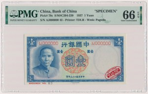 Chiny, 1 Yuan 1937 - AJ 000000 - SPECIMEN