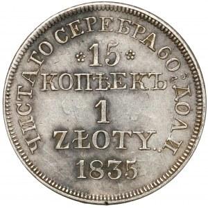 15 kopiejek = 1 złoty 1835 MW, Warszawa - BEZ kreski