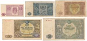 Zestaw banknotów 1 - 500 zł 1946 (5szt)