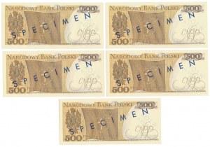 Zestaw WZORÓW 500 zł 1974 - K 0000000 (5szt)