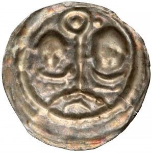 Henryk I Brodaty / II Pobożny, Brakteat ratajski - dwóch biskupów na łuku