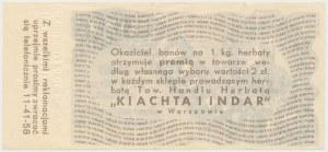 Towarzystwo KIACHTA i INDAR, bon premiowy na kg herbaty