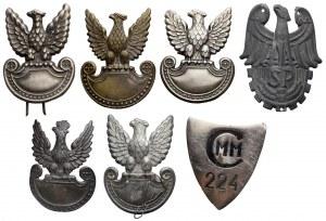 Zestaw orłów PRL + odznaka (7szt)