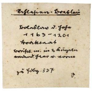 Henryk I Brodaty / II Pobożny, Brakteat ratajski - głowa z długimi włosami - b.rzadki