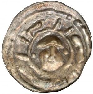Henryk I Brodaty / II Pobożny, Brakteat ratajski - głowa na wprost