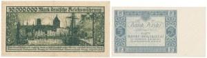 Gdańsk 10 mln mk 1923 i II RP 5 zł 1930 (2szt)