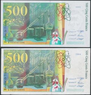 Francja, 500 Francs 1995 - ORYGINAŁ i FALSYFIKAT (2szt)