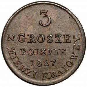 3 grosze polskie 1827 I.B. z MIEDZI... - piękne