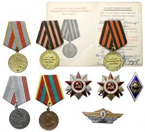 ZSRR, Zestaw odznak i odznaczeń (9szt)