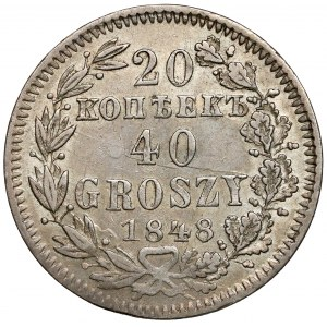 20 kopiejek = 40 groszy 1848 MW, Warszawa - RZADKIE